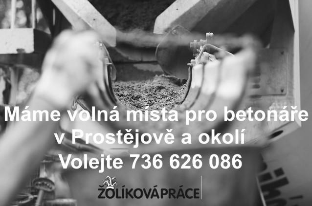 Práce betonáře v Žolíkové agentuře práce Prostějov